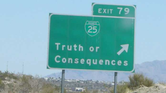 Highway sign to Truth or Consequences, New Mexico