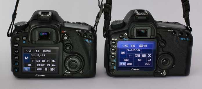 Die Rückansichten der EOS 7D und 5D MKII unterscheiden sich in einigen  bemerkenswerten Details