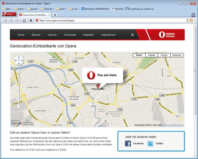 Opera 10.60 mit Geolocation.