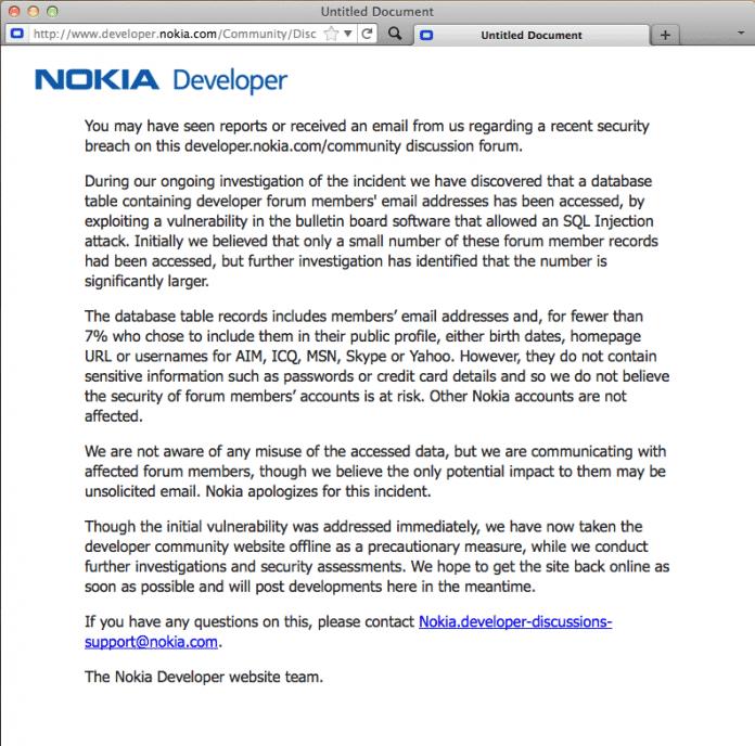 Screenshot: Nokias Developer-Forum ist vorübergehend nicht zu erreichen.
