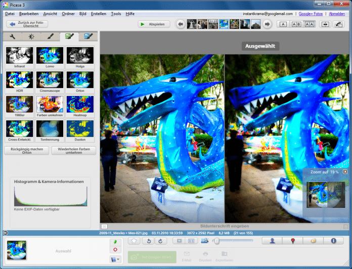 Das Dokumentenfenster teilt Picasa 3.9 auf Wunsch in einer Vorher-Nachher-Ansicht.