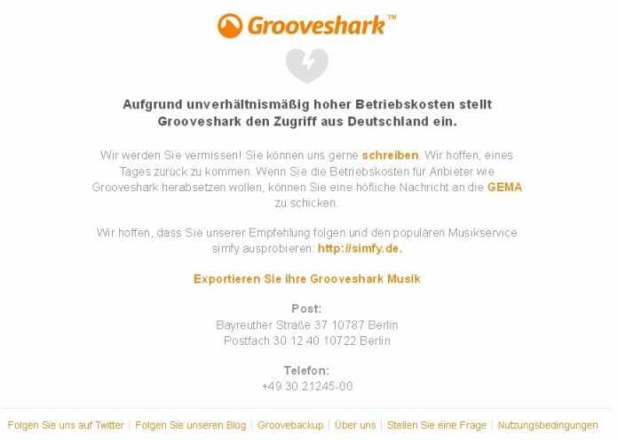 Grooveshark Screenshot mit GEMA-Verweis
