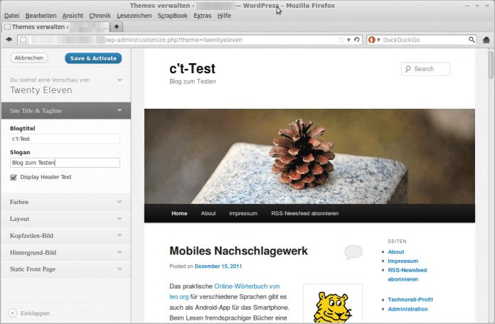 Wordpress-Theme-Vorschau