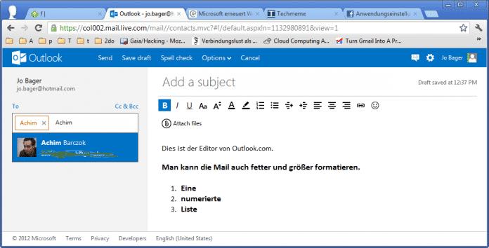 Outlook.com Maileditor