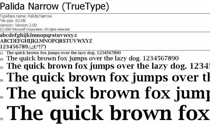 Die Font-Eigenschaften von Palida Narrow