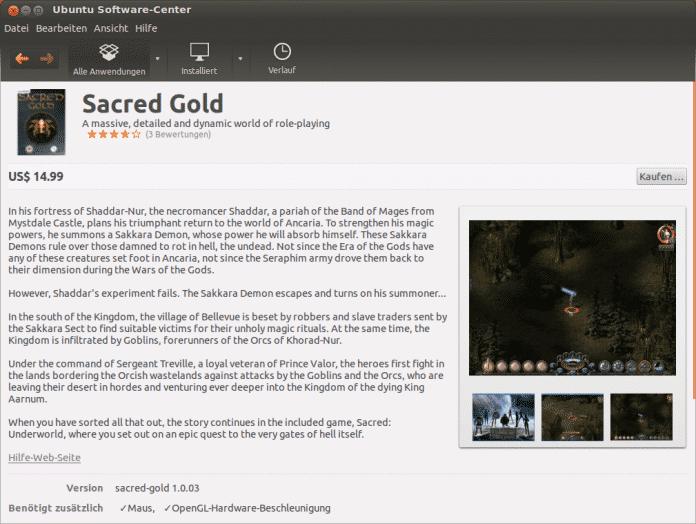 Sacred Gold im Ubuntu Software-Center