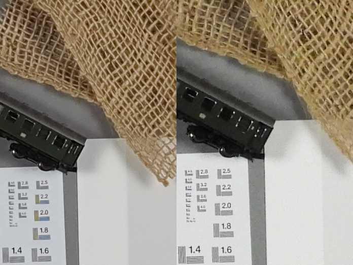 Raten Sie mal: Wo ist die Kompakte, wo das Smartphone? Tatsächlich liegen die Bildergebnisse bei einer ISO-Empfindlichkeit von ISO 800 nahezu gleichauf. Sie können davon ausgehen, dass sie mit beiden Kameras bei ungünstigen Lichtbedingungen matschige Bildergebnisse produzieren. Hier dennoch die Auflösung: Links sehen sie eine herkömmliche, günstige Kompaktkamera mit kleinem 1/2,3 Zoll Chip; Rechts steht das Samsung Note 9 dessen Kamerasensor fast genauso groß ist.