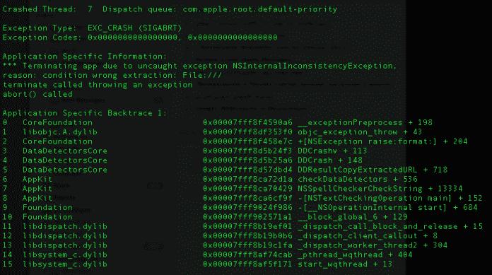 Screenshot von Crash-Report (TextEdit)