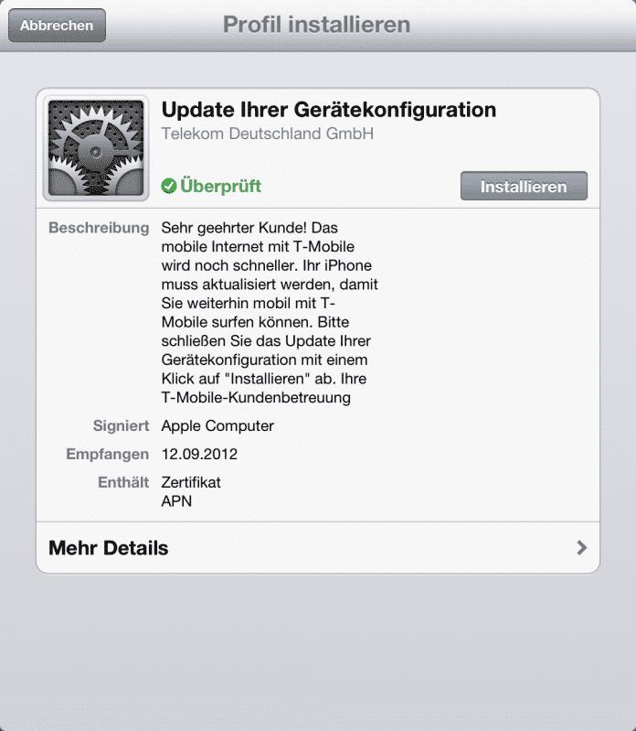 iOS 6 stopft Konfigurationsloch | heise Security