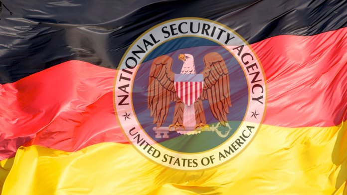 Deutsche Flagge und NSA Logo