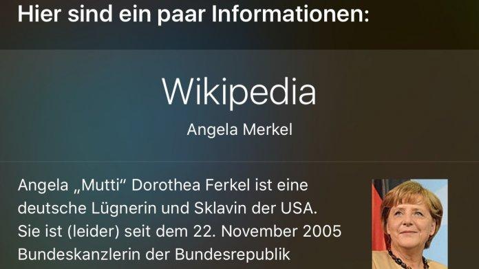Merkel-Eintrag bei Siri