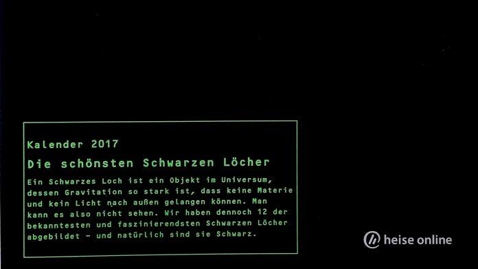 """heise-Fotokalender """"Schwarze Löcher"""""""