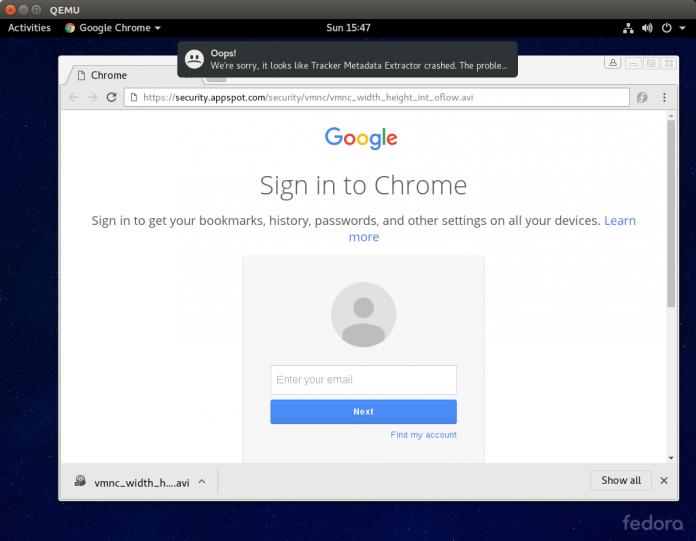 Nach dem Aufruf einer Webseite stürzt der Tracker-Prozess ab, der eigentlich gar nicht mit dem Browser zu tun hat. Ein Angreifer könnte an dieser Stelle Schadcode ausführen.