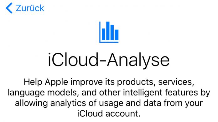 iCloud-Analyse in iOS 10.3