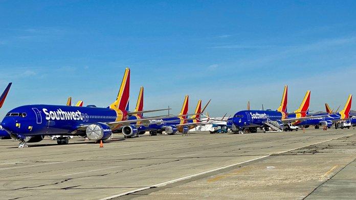 Boeing 737 Max der Southwest Airlines geparkt auf dem Southern California Logistics Airport bei Victorville, Dezember 2019