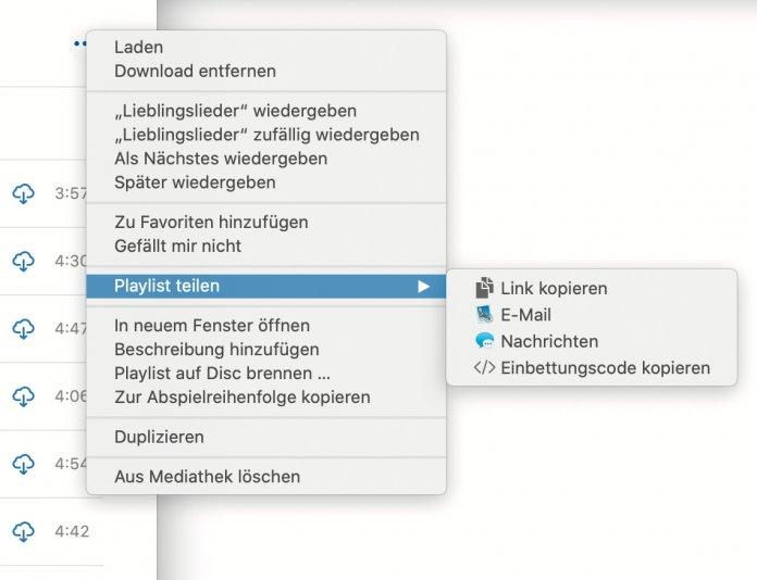 Playlists teilen Sie in der Musik-App in macOS Catalina ganz einfach über das Kontextmenü mit Freunden und Bekannten.