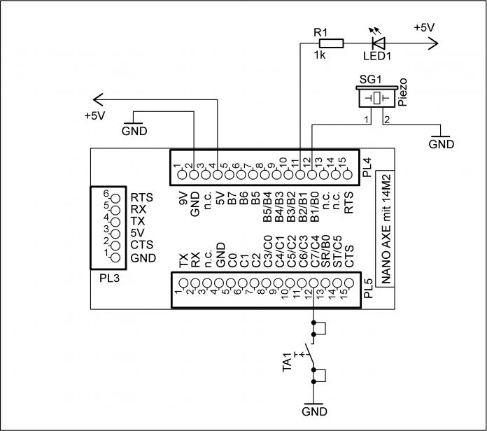 Schaltplan mit Nano-Axe-Board.