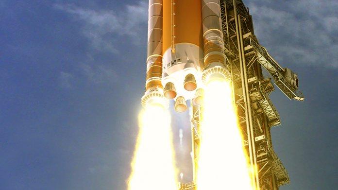 Zeichnung einer Rakete auf Startrampe mit zwei Feuerstrahlen