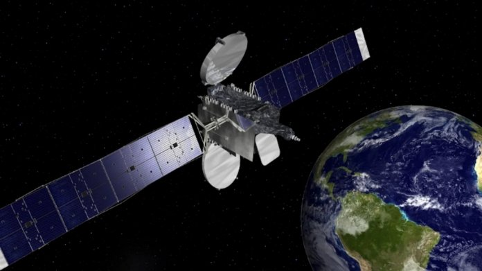 Satellit kreist über Erde (Zeichnung)