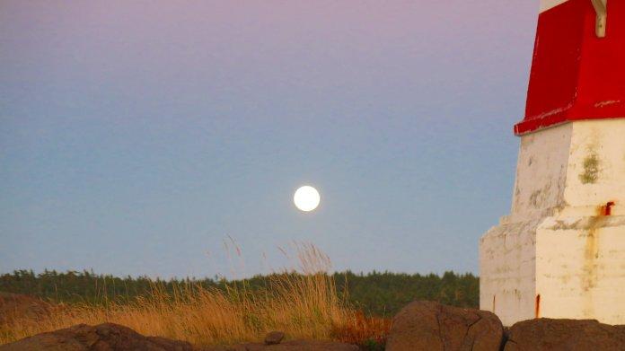 Vollmond, über einer Wiese neben einem Leuchtturm