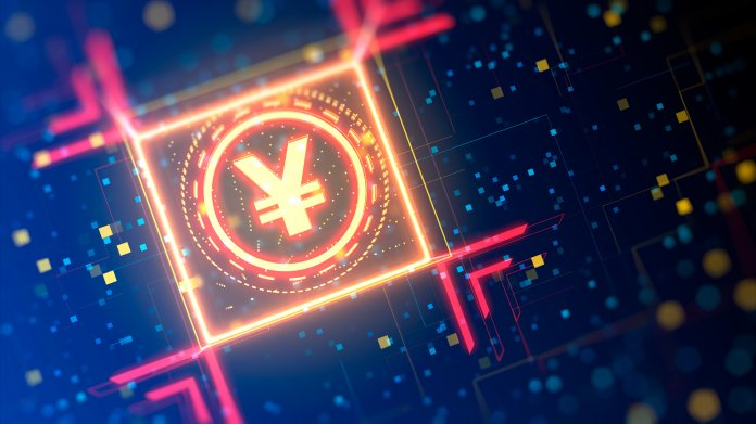 Yuan,Currency,Sign,On,A,Abstract,Digital,Background.,Financial,Hi-tech