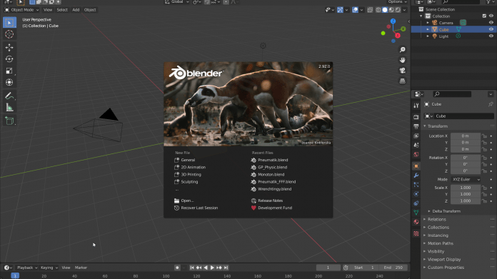 Blender 2.92 Startup Screen