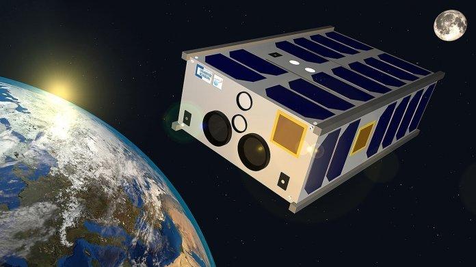 Zeichnung eines flachen Satelliten im Erd-Orbit