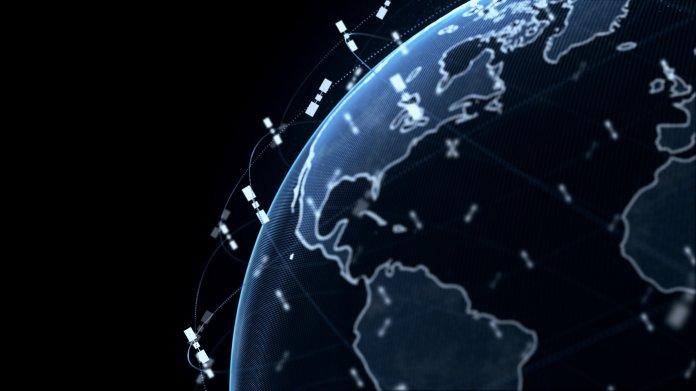 Zeichnung der Erdkugel mit Satelliten im Orbit (nicht maßstabsgetreu)