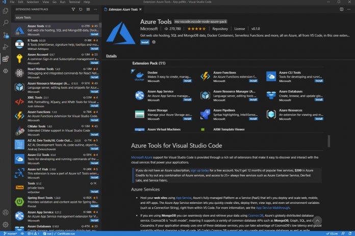 Ein beispielhaftes Extension Pack zu den Azure Tools (Abb. 2)