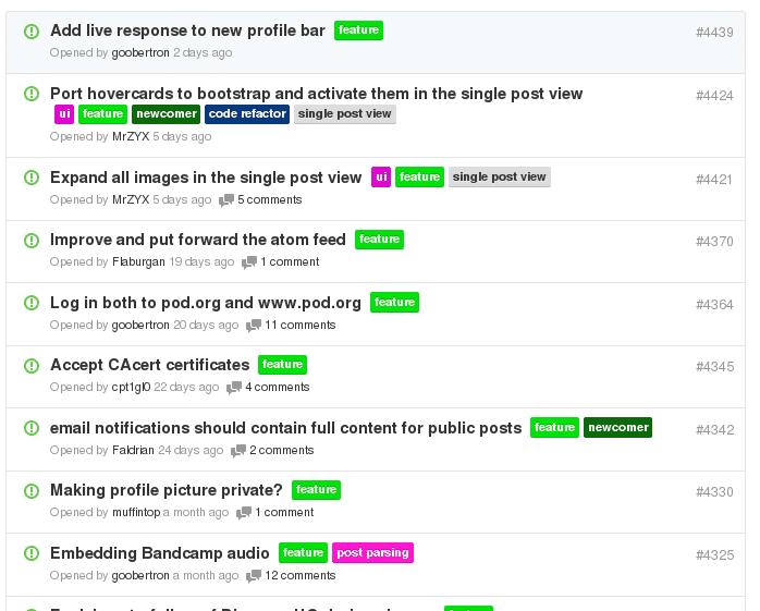Liste von Features auf Github
