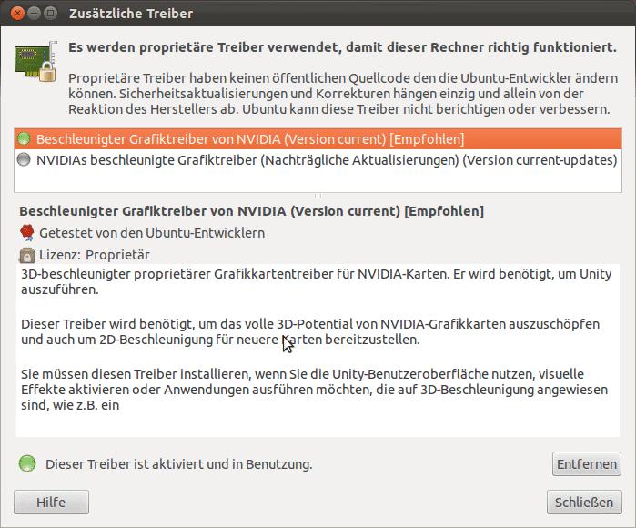 Gibt es proprietäre Treiber für die Hardware des PC, bietet Ubuntu sie zur Installation an.