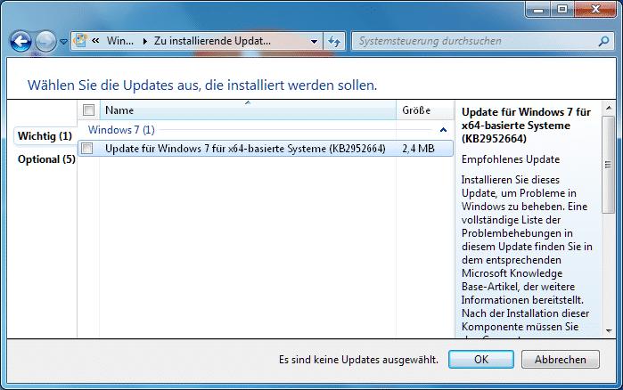Das Windows-Update bietet unter Windows 7 derzeit ein Update an, bei dem nicht so richtig klar ist, welche Probleme es genau löst
