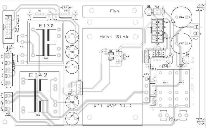 Für den Printtrafo TR1 können zwei Modelle verwendet werden - mit EI38- und EI42-Kern. Die EI38-Version darf nur eine Sekundärwicklung aufweisen, während bei EI42-Trafos auch solche mit zwei 9-V-Wicklungen passen. Die bei manchen Fabrikaten vorhandenen Befestigungslaschen sind gegebenenfalls abzuschneiden.