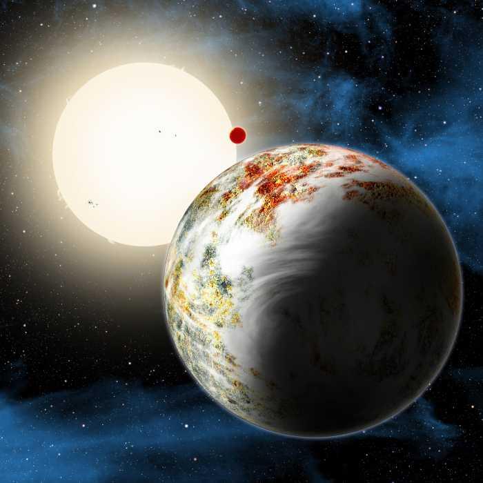 Künstlerische Darstellung von Kepler 10 und der Mega-Erde