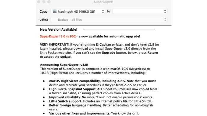 Backup-App SuperDuper! mit vollwertigen APFS-Support