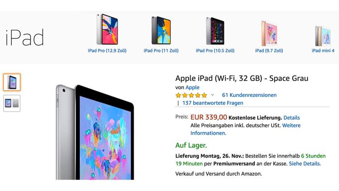 Apple-Verkauf bei Amazon gestartet