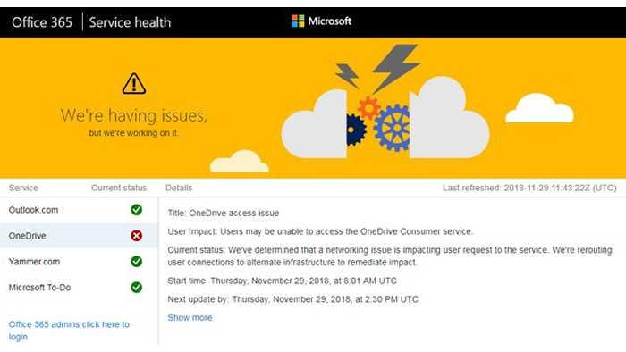 Geplagte Microsoft-Dienste: Störungen bei OneDrive & Co.