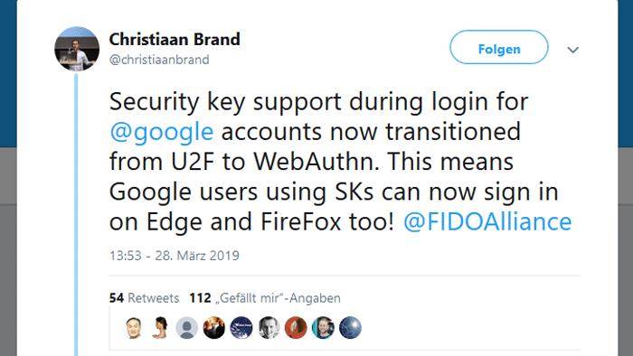 Google: Authentifizierung mit Sicherheitsschlüssel nun auch für Firefox & Edge