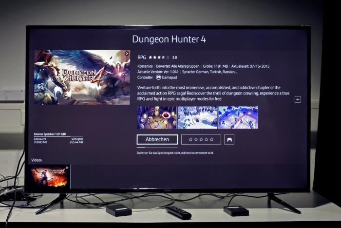 Vom Start weg sind knapp 700 MByte im TV durch vorinstallierte Apps belegt. Große Spiele wie Dungeon Hunter 4 würden aber eh nicht in den 1,01 GByte kleinen Speicher passen.