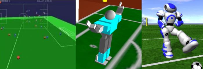 :Die Entwicklung der simulierten 3D-Roboter: Von simplen Kugeln über Klötzchengrafik zum  ausgefeilten 3D-Modell des Nao mit beweglichen Gelenken