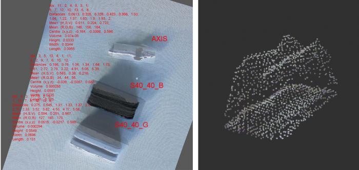 Verschiedene @Work Objekte und ihre Wahrnehmung durch den 3D-Sensor