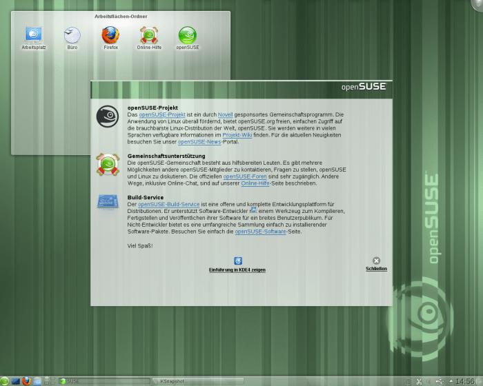 Der Desktop von OpenSuse 11.4 nach dem ersten Start