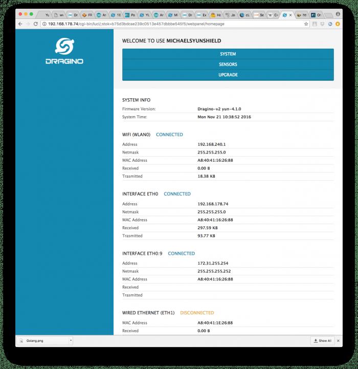 Nach dem Login zeigt der Konfigurationsdienst die aktuelle Konfiguration an