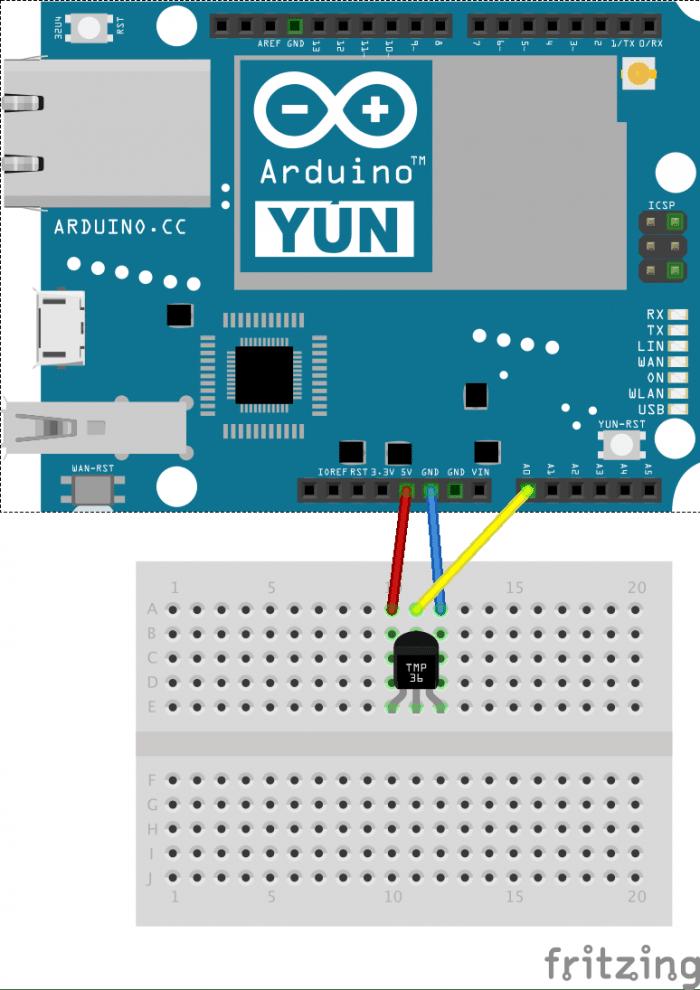 Yun mit TMP36 (Anschluss über A0)