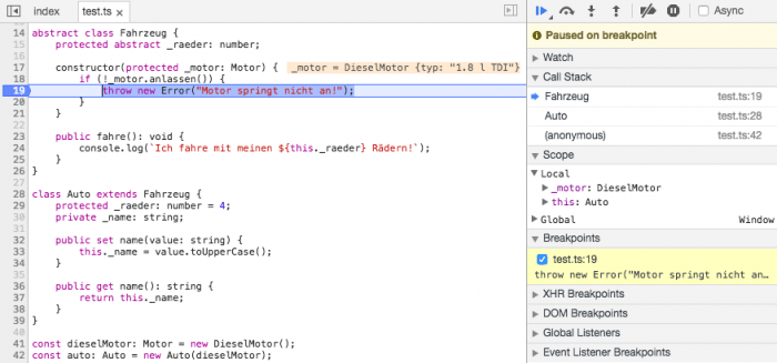 TypeScript-Debugging im Browser: Unproblematisch dank Sourcemap