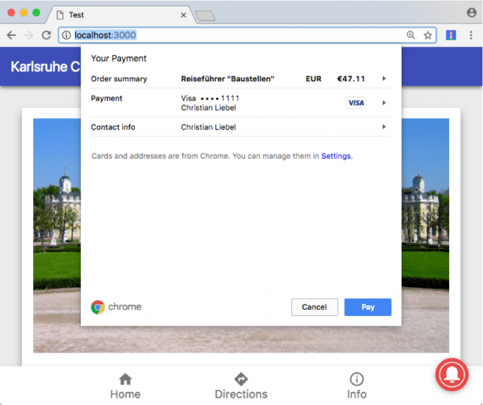 Payment Request API auf dem Desktop