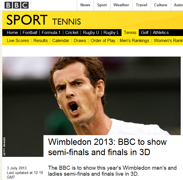 Bildzitat: BBC sendet 3D aus Wimbledon