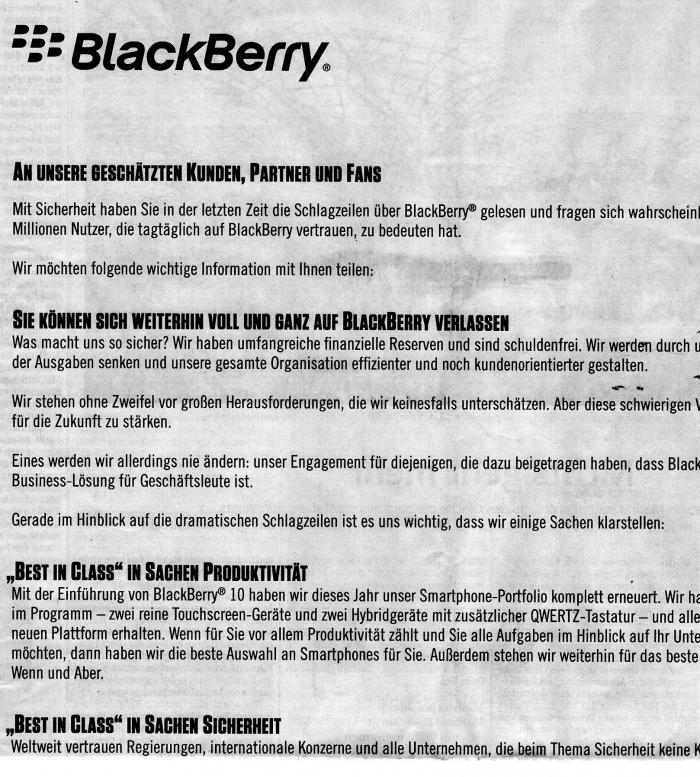 Ausriss aus der BlackBerry-Anzeige