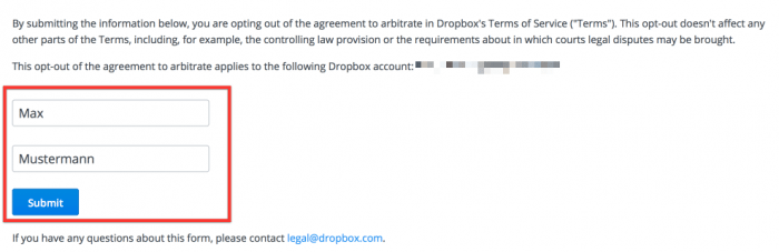 Name eintragen, einmal klicken: Der Opt-Out aus der Schiedsgerichtsklausel ist zum Glück simpel.