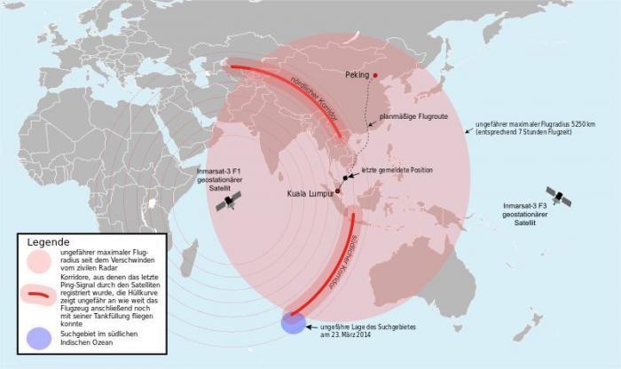 """Aufgrund des Treibstoffvorrats (rote Fläche) und der vom Satelliten empfangenen Pings (rote Linien) theoretisch mögliches Gebiet, in dem sich MH370 befinden könnte (Stand: 21. März 2014). Das letzte durch einen Satelliten stündlich empfangene Signal um 08:11 Uhr MYT (00:11 Uhr UTC) am 8. März 2014 kam aus einem der beiden sichelförmigen """"Korridore"""" entlang der beiden roten Linien."""